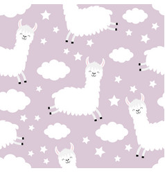 seamless pattern cloud star in sky alpaca vector image