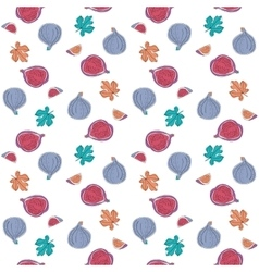 Seamless Pattern with fig fruits and leaves vector