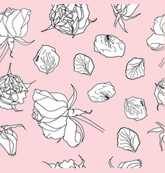 seamless pattern with white roses on pink vector image