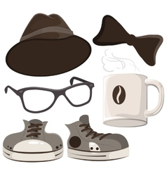 Set hipster accessories - hat glasses tie mug vector