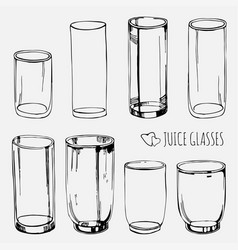 set of empty juice and water glasses skethed vector image