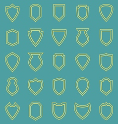 Shield line icons on blue background vector image