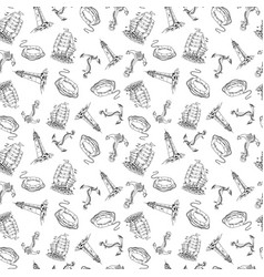 ship sailboat sketch seamless pattern vector image