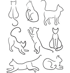 Silhouette of cats vector