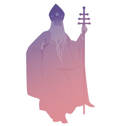 Silhouette pope with beard and miter with vector