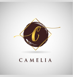 simple elegance initial letter c gold logo type vector image