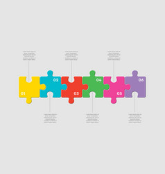 Six pieces jigsaw puzzle square line infographic vector