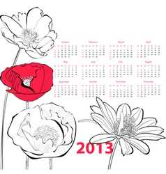 Stylized Poppy flower vector image