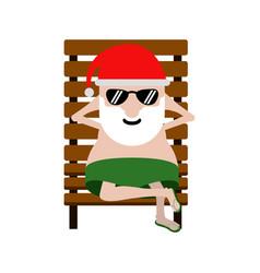 Summer santa claus on a beach chair vector