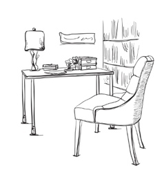 Table with a computer or workplace drawn by hand vector