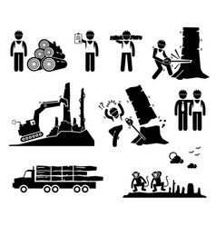 Timber logging worker deforestation stick figure vector