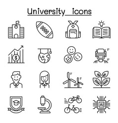 university college school icon set in thin line vector image