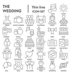 Wedding thin line signed icon set love symbols vector