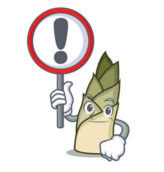 With sign bamboo shoot character cartoon vector
