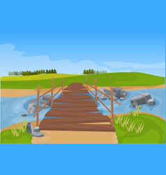 Wooden bridge across river mountain landscape vector