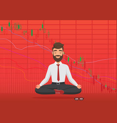 young man trader meditating under falling crypto vector image