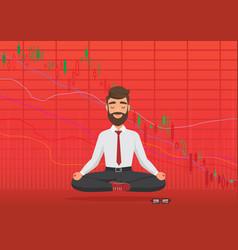 Young man trader meditating under falling crypto vector