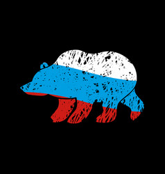 bear russia flag emblem national traditional vector image