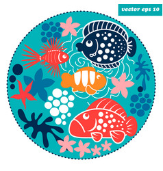 cartoon fish circle vector image vector image