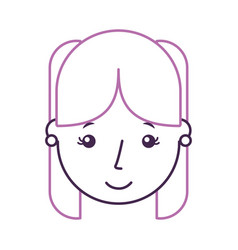 Cute young girl head avatar character vector