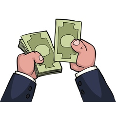 hand count money vector image vector image