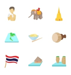 Holiday in Thailand icons set cartoon style vector image vector image