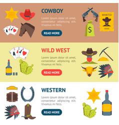 cartoon cowboy banner horizontal set vector image