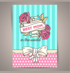happy mothers day vintage card vector image vector image