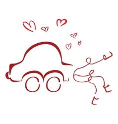 Honeymoon car vector image