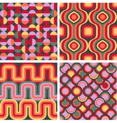 Set of seamless retro patterns vector image vector image