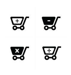 Shopping cart icons with mathematical symbol vector