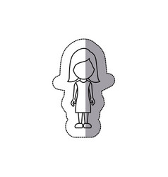 silhouette woman sticker icon vector image vector image