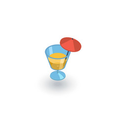 Cocktail glass whith umbrella juice drink vector