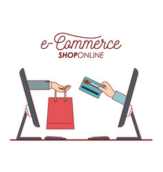 desktop computer with hand holding a bag shopping vector image vector image