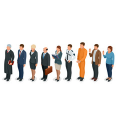 isometric law and justice people present in court vector image