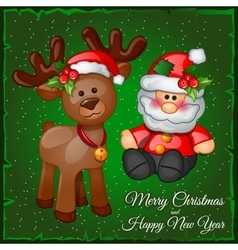 Deer and Santa in a green background vector image