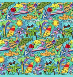 doodle summer beach seamless pattern vector image