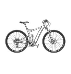 downhill cross country bicycle engraved vector image
