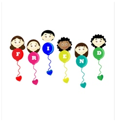 Friendship day title children balloons flags vector image