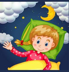 girl sleeping at night time vector image vector image