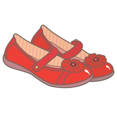 Red girls shoes vector image vector image