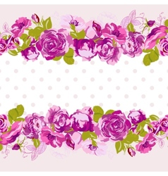 Seamless Border of blossom roses vector image vector image