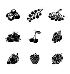 Set of monochrome BERRIES icons - cherry vector image vector image