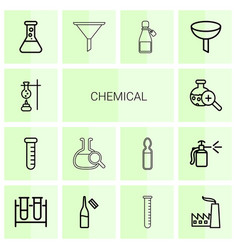 14 chemical icons vector