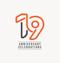 19 years anniversary celebration template design vector