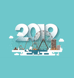 2019 winter urban landscape vector image