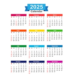 2025 Year calendar isolated on white background vector image