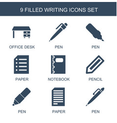 9 writing icons vector image