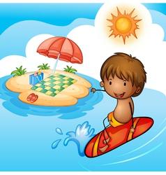 A surfing boy vector