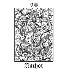 anchor symbol tarot card from lenormand gothic vector image